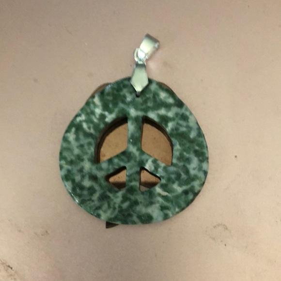 Real gem stone peace pendant